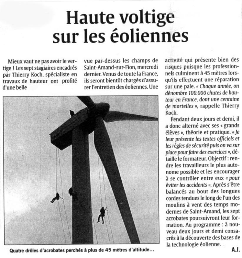 Haute voltige sur les éoliennes