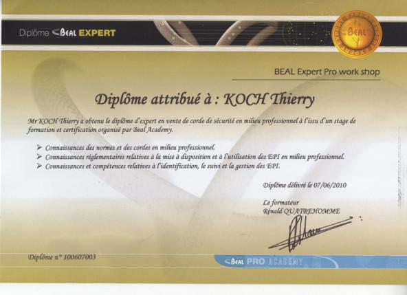 Certificat cordes BEAL